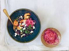 black bean salad with prawns, feta and pickled onion