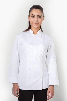 For the female chef that wants to look elegant. Long sleeve with turn back cuffs, sleeve pocket. White- has self fabric stud buttons. Black- has Fabric Strips, Chef Jackets, That Look, Female, Elegant, Chic, Long Sleeve, Sleeves, Cotton