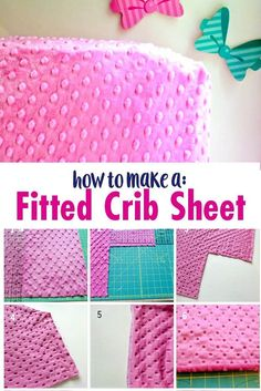 How to Make a Fitted Crib Sheet Tutorial – Soft Minky Crib Sheet Tutorial Sew you own baby crib sheet! Learn how to Make a Fitted Crib Sheet Tutorial using either cotton fabric or minky fabric. This Minky Crib Sheet Tutorial is perfect for both babies an Easy Sewing Projects, Sewing Projects For Beginners, Sewing Hacks, Sewing Tips, Sewing Ideas, Diy Projects, Baby Sewing Tutorials, Sewing Crafts, Sewing Designs