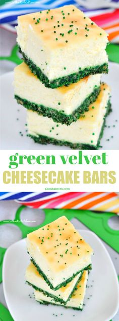 Green Velvet Cheesecake bars are festive and delicious. A perfect St. Patrick's Day dessert! #stpatricksday #cheesecakebars