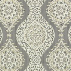 Silver Grey Medallion Upholstery Fabric by PopDecorFabrics