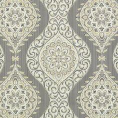 Silver Grey Medallion Upholstery Fabric by PopDecorFabrics