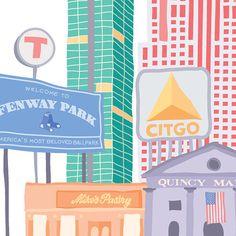 Illustrated City Print, Boston, MA