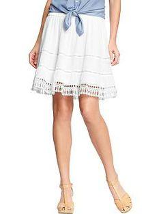 Women's Gauze Eyelet Skirt Bright White