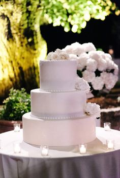 Brides: Formal White Cake with White Roses