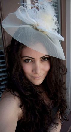 Alexandra Large Ivory Couture English Hat Fascinator Headband for Weddings, Parties, special Occasions. $65.00, via Etsy.