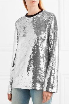 MSGM - Sequined Mesh Top - Silver - IT40