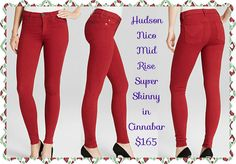 "Hudson Nico Mid Rise Super Skinny in Cinnabar Red: Channel the lady in red with Hudson's spice-laden shade that shakes things up on their signature ""Nico"" super skinny fit.  Cotton/polyester/LYCRA® spandex  MACHINE WASH  Made in USA  Zip fly with button closure, faux front pockets, rear patch pockets  Tonal stitching, black logo hardware, high-rise  9"" rise, 30"" inseam, 10"" leg opening  Available size 26-29"
