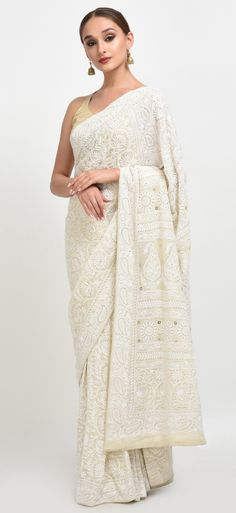 Heirloom Pick Ivory Chikankari With Kamdani Pure Georgette Saree Indian Attire, Indian Wear, White Saree Wedding, White Sari, Wedding Dress, Indian Dresses, Indian Outfits, Traditional Indian Jewellery, Indian Jewelry