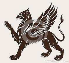 griffin-tattoo-standing-lifted-paw-stencil-symbol-gryphon-36145831.jpg (400×369)