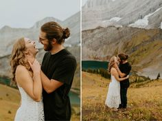 Gorgeous mountain engagement photos in Banff National Park shot by Alberta wedding and Elopement Photographer Havilah Heger. Banff Engagement Photos on top of a mountain | Romantic Hiking Adventurous Engagement Photos | Adventure Mountain Weddings | Rue De Seine Wedding Dress | Boho Wedding Style