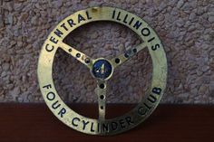 VINTAGE CAR BADGE FOUR CYLINDER CLUB CENTRAL ILLINOIS EMBLEM 1950?