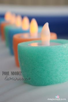 Create these Pool Noodle Luminaries for your next pool party! Could be used in a fountain too! Pool party coming soon :) Fruit Party, Luau Party, Beach Party, Yard Party, Swim Team Party, Tiki Party, House Party, Summer Crafts, Summer Fun