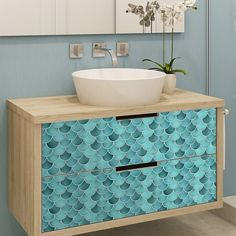 Shop Black Friday Deals on Walplus Fresh Turquoise Glossy 3D Metro Backsplash Tile Stickers Peel and Stick - Overstock - 31813456 - 1 pack - Green 3d Tiles, Mosaic Tiles, Wall Tiles, Mermaid Tile, 3d Sticker, Mosaic Tile Stickers, Turquoise Tile, Traditional Tile, Peel And Stick Tile