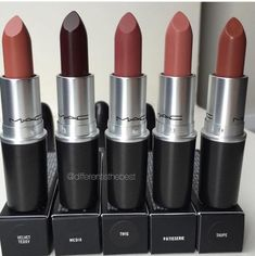 Mac lipsticks in: Velvet Teddy, Media, Twig, Patisserie, Taupe Makeup Goals, Love Makeup, Makeup Inspo, Makeup Inspiration, Makeup Tips, Makeup Products, Amazing Makeup, Makeup Tutorials, Beauty Products