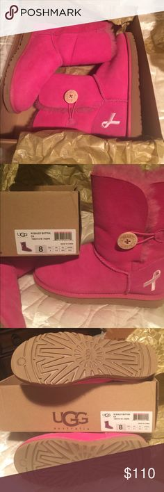UGG Australia boots Limited edition breast cancer awareness UGG Boots. Bailey Button / pink- raspberry / size 8. Had to have but were too small. UGG Shoes