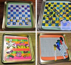 travel tin of games. uses magnets to hold the pieces in place.