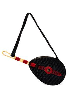 Mandolin Raffia Shoulder Bag by Charlotte Olympia at Gilt