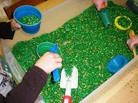 Green rice in sensory table.