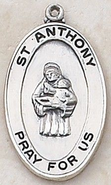 """SAINT ANTHONY MEDAL, Price includes shipping to all fifty states. Solid sterling silver medal, approx. 1"""" in circumference. Gift boxed with a complimentary 20"""" stainless steel chain. Carries the Creed lifetime guarantee."""
