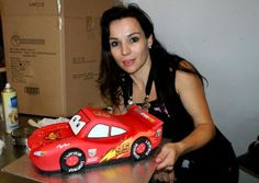 For Step-by-step, templates and stickers: http://cakesdecor.com/entries/3562-3d-racing-car-lightning-mcqueen-cake Don't forget you can add a beautiful shiny with Dinkdoodle Shell and Shine