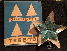 Vintage Doubl Glo Christmas Tree Topper Aluminum STAR Silver Turquoise Blue.
