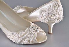 Woman's Low Heel Wedding Shoes- Woman's Vintage Wedding Lace Peep Toe Heels, Women's Bridal Shoes, Wedding Shoes, Women's shoes Bridesmaid by Pink2Blue on Etsy https://www.etsy.com/listing/250352363/womans-low-heel-wedding-shoes-womans