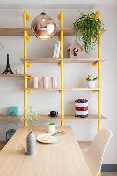 yellow pipes shelving #decor #freakingamazing #DIY #shelfie
