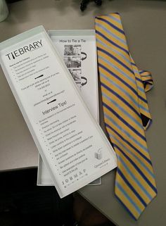 The Tiebrary at the Queens Library. Check out a tie as well as a set of job interview tips. For more on Lauren Comito, the librarian who started the program, see http://lj.libraryjournal.com/2015/03/people/movers-shakers-2015/lauren-comito-movers-shakers-2015-innovators/