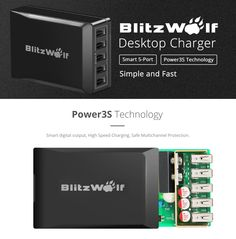 US Warehouse | Blitzwolf® Smart Muilt 5-Port Desktop Charger Plug For iPhone iPad Samsung HTC