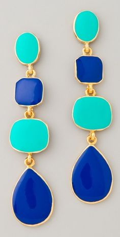 Kenneth Jay Lane Polished Gold & Enamel Earrings #turquoise #cobalt