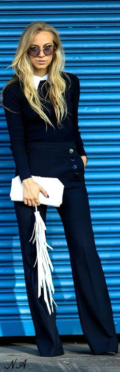 Street style - NYFW. Black jacket, trousers, white purse. women fashion outfit clothing style apparel @roressclothes closet ideas