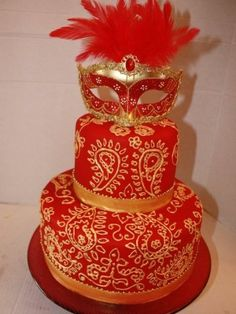 Red and Gold Masquerade cake