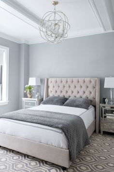 The bedroom is like... 50 shades of grey. Except this is totally calming and not at all like that movie.