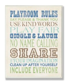 Amazon.com: The Kids Room Wall Decor, Boys Playroom Rules: Baby