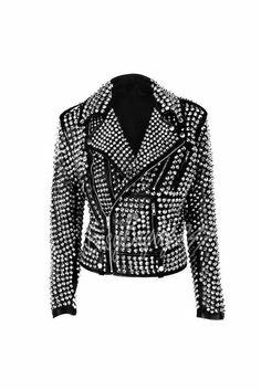 Women Silver Studded Jacket Rock Style Ladies Silver Studded Leather Jacket #Handmade #StuddedStyle