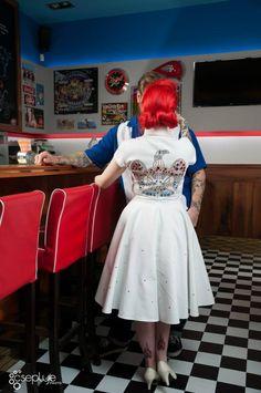 Elvis inspired wedding dress: vintage / pin-up / rockabilly dress with rhinestone eagle motif by TiCCi Rockabilly Clothing Rockabilly Mode, Rockabilly Wedding, Rockabilly Outfits, Rockabilly Fashion, Rockabilly Clothing, Alice In Wonderland Dress, Alternative Wedding Dresses, Sequin Tank Tops, Vintage Pins
