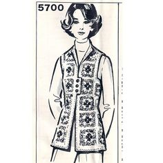 Crochet Block Vest Pattern in colorful granny squares.  Open Front and below hip length.   This Mail Order Pattern No 5700 is available, in PDF format, at Vintage Knit Crochet Pattern Shop