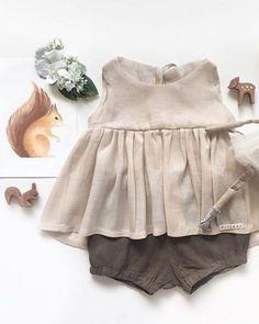 Natural Linen Tunic Top & Bloomers | MiyaAndMa on Etsy