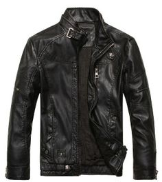 Men Zip Up Button Collar Faux Leather Jacket
