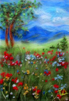 """""""Горный луг"""". Красочный романтичный пейзаж, как яркий мазок на картине художника, украсит ваш интерьер и привлечет внимание ваших гостей не только своей красотой, но и редкой техникой исполнения."""