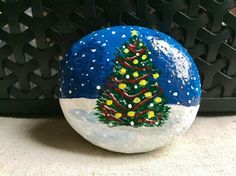 Christmas Tree Landscape Painted Rock