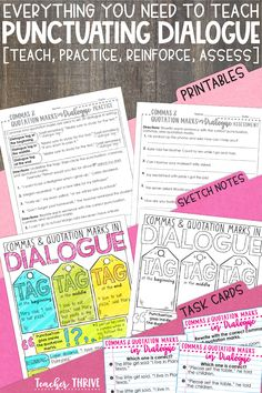 This unit includes everything you need to teach students how to use commas and quotation marks in dialogue: PowerPoint mini-lesson, practice printable, sketch notes, assessment, and bonus interactive notebook activity. Perfect for 3rd grade grammar standards.