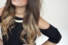 brunette. long hair. highlights. loose curls. pretty.