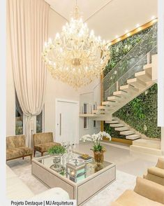 Room Chandeliers: Tips for Decorating the Room with this Item - Decoration, Architecture, Construction, Furniture and decoration, Home Deco Modern Staircase, Staircase Design, Home Interior Design, Interior And Exterior, Luxury Interior, Living Room Designs, Living Room Decor, High Ceiling Living Room, House Stairs
