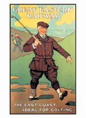 GREAT EASTERN RAILWAY Vintage 1920s Golf Poster Great Eastern Railway advertising poster, encouraging Londoners to hop on the train at Liverpool station and take a golfing trip to the East coast of England. Available at www.sportsposterwarehouse.com