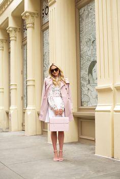 Pink trench, Self-Portrait top, No.21 skirt, Stuart Weitzman heels and Strathberry bag