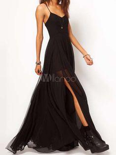 Hot Black Solid Color Backless Split Front Chiffon Straps Neck Maxi Dress - Milanoo.com
