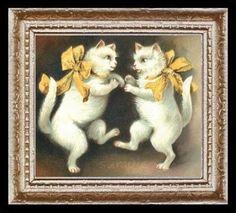 Vintage Dancing Cats Miniature Dollhouse Art Picture