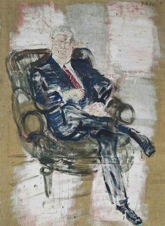 Varlin (Willy Guggenheim) (Swiss, Patentanwalt Blum [Patent attorney Blum], Oil and charcoal on unprimed jute, x 150 cm. Global Art, Art Market, Modern Art, Past, Sculptures, Fine Art, Artist, Artwork, Painting